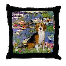 Monet's Lilies & Beagle Throw Pillow