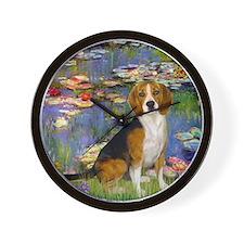 Beagle in Monet's Lilies Wall Clock