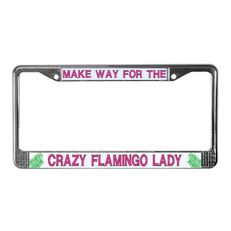 Crazy Flamingo Lady License Plate Frames