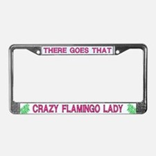 Crazy Flamingo Lady License Plate Frame