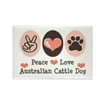 Peace Love Austalian Cattle Dog Rectangle Magnet