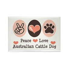 Peace Love Austalian Cattle Dog Rectangle Magnet