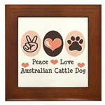 Peace Love Austalian Cattle Dog Framed Tile