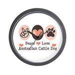 Peace Love Austalian Cattle Dog Wall Clock