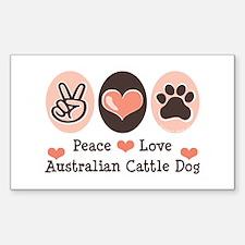 Peace Love Austalian Cattle Dog Sticker (Rectangul