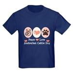 Peace Love Austalian Cattle Dog Kids Dark T-Shirt