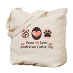 Peace Love Austalian Cattle Dog Tote Bag