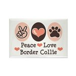 Peace Love Border Collie Rectangle Magnet