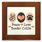 Peace Love Border Collie Framed Tile