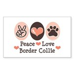 Peace Love Border Collie Rectangle Sticker