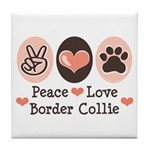 Peace Love Border Collie Tile Coaster