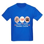 Peace Love Border Collie Kids Dark T-Shirt
