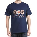 Peace Love Border Collie Dark T-Shirt