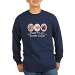 Peace Love Border Collie Long Sleeve Dark T-Shirt