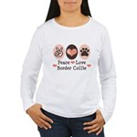 Peace Love Border Collie Women's Long Sleeve T-Shi