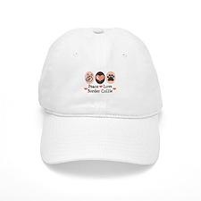 Peace Love Border Collie Baseball Cap