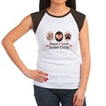 Peace Love Border Collie Women's Cap Sleeve T-Shir