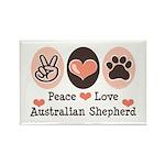 Peace Love Australian Shepherd Rectangle Magnet (1