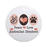 Peace Love Australian Shepherd Ornament (Round)