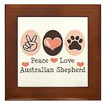 Peace Love Australian Shepherd Framed Tile