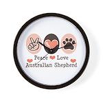 Peace Love Australian Shepherd Wall Clock