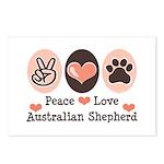 Peace Love Australian Shepherd Postcards (Package