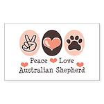 Peace Love Australian Shepherd Sticker (Rectangula