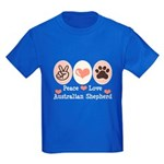 Peace Love Australian Shepherd Kids Dark T-Shirt