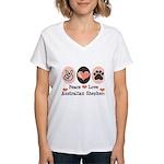 Peace Love Australian Shepherd Women's V-Neck T-Sh