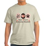 Peace Love Australian Shepherd Light T-Shirt