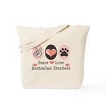 Peace Love Australian Shepherd Tote Bag
