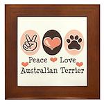 Peace Love Australian Terrier Framed Tile