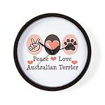 Peace Love Australian Terrier Wall Clock