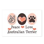 Peace Love Australian Terrier Postcards (Package o