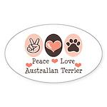 Peace Love Australian Terrier Oval Sticker