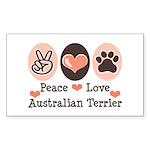 Peace Love Australian Terrier Sticker (Rectangular