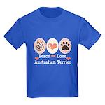 Peace Love Australian Terrier Kids Dark T-Shirt