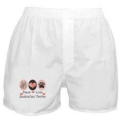 Peace Love Australian Terrier Boxer Shorts