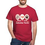 Peace Love Australian Terrier Dark T-Shirt