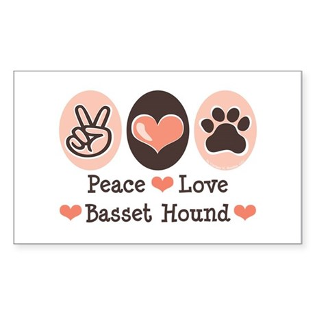 Peace Love Basset Hound Rectangle Sticker