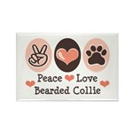 Peace Love Bearded Collie Rectangle Magnet (10 pac