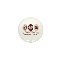 Peace Love Bearded Collie Mini Button (100 pack)