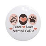 Peace Love Bearded Collie Ornament (Round)