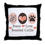 Peace Love Bearded Collie Throw Pillow