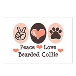 Peace Love Bearded Collie Postcards (Package of 8)