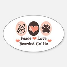 Peace Love Bearded Collie Oval Decal