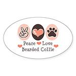 Peace Love Bearded Collie Oval Sticker