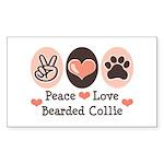 Peace Love Bearded Collie Rectangle Sticker