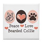 Peace Love Bearded Collie Tile Coaster