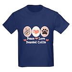 Peace Love Bearded Collie Kids Dark T-Shirt